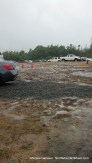 muddy parking lot, one of many